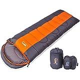 寝袋 封筒型 軽量 アウトドア 登山 車中泊 丸洗い 最低使用温度5度 収納袋付き (オレンジ 1kg)