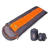 寝袋 封筒型 軽量 アウトドア 登山 車中泊 丸洗い 最低使用温度0度 収納袋付き (オレンジ 1.4kg)