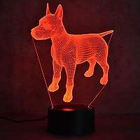 3D 犬用ナイトライト USBタッチスイッチ装飾 テーブルデスク 光学イリュージョンランプ 7色に変化するライト LEDテーブルランプ クリスマス 家 愛 ブリトデイ 子供 キッズ 装飾 おもちゃ ギフト