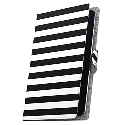 タブレット 手帳型 タブレットケース タブレットカバー 全機種対応有り カバー レザー ケース 手帳タイプ フリップ ダイアリー 二つ折り 革 シンプル ボーダー 黒 009057 Fire HDX Amazon アマゾン Kindle Fire キンドル