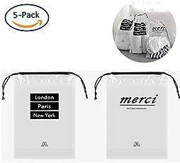 PVC透明袋 防水 5点セット 引きひも袋 小物いれ 旅行用収納バッグ 巾着袋 収納袋 収納ポーチ