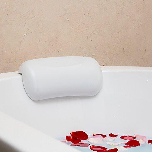Fypo お風呂 まくら バスピロー 吸盤 滑り止め付 バスタブ 浴槽 2色選択 (白)