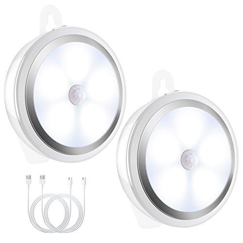 AMIR 人感センサー ライト USB充電式 LEDセンサーライト 3Mテープ ケーブル付き ナイトライト 小型 ワイヤレス 省エネ 室内/階段/廊下/玄関/トイレ照明 LEDライト 2個セット 日本語説明書付け 昼光色