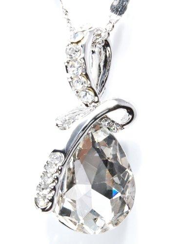 誕生石風 9種類 天使 の 泪 を イメージした ティアドロップ 型 ペンダント 付 ネックレス (ホワイトクリスタル)