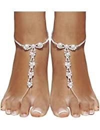 2 Piece Barefoot Sandals with Rhinestones and beadsBeach Wedding Barefoot SandalsSliver