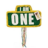 APINATA4U I AM ONE 緑と黄色のサイン ピニャータ 初めての誕生日 引き紐スタイル