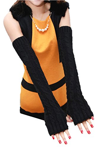 Fluffy whole arm warmers arm of knit warm Long type [length 56cm] + mini towel set of 2/6 select from the color [MG11-199]