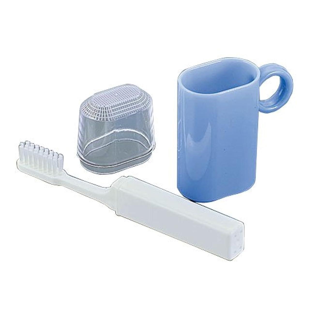 カメエミュレーション説明するコップ付歯ブラシセット ブルー