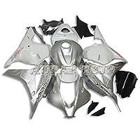 AUPARTSJPインジェクションオートバイの外装部品セット適応フルフェアリングキットフィットホンダCBR600RR F5年2009 2010 2012 2012 CBR 600RR 09 10 11 12 ABSプラスチックフェアリング光沢シルバーホワイトカウル