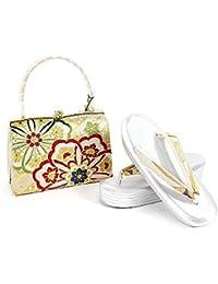 紗織謹製 草履バッグセット レディース銀×金×オレンジ 金×赤×黄緑 草履24.5cm ゴールド シルバー