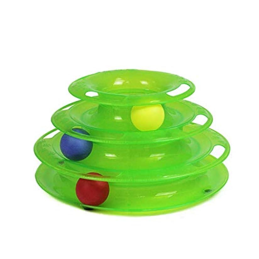 お手入れ飢え毛皮SGLI 3層猫のおもちゃ、おもちゃのボール、臼歯インタラクティブボールをキャッチするABSパズル猫 ペットボール (Color : Green)