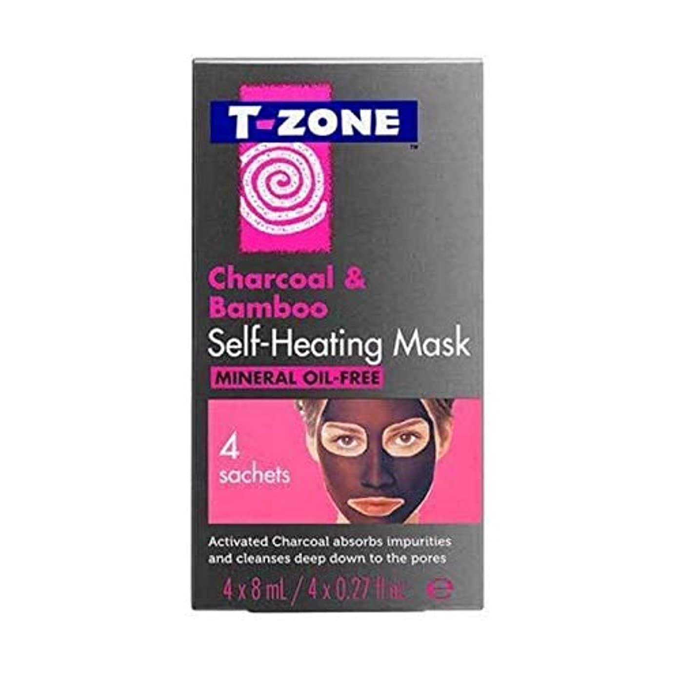 誇張するカーフ強調[T-Zone] Tゾーン木炭&竹自己発熱マスク4×8ミリリットル - T-Zone Charcoal & Bamboo Self Heating Mask 4 x 8ml [並行輸入品]