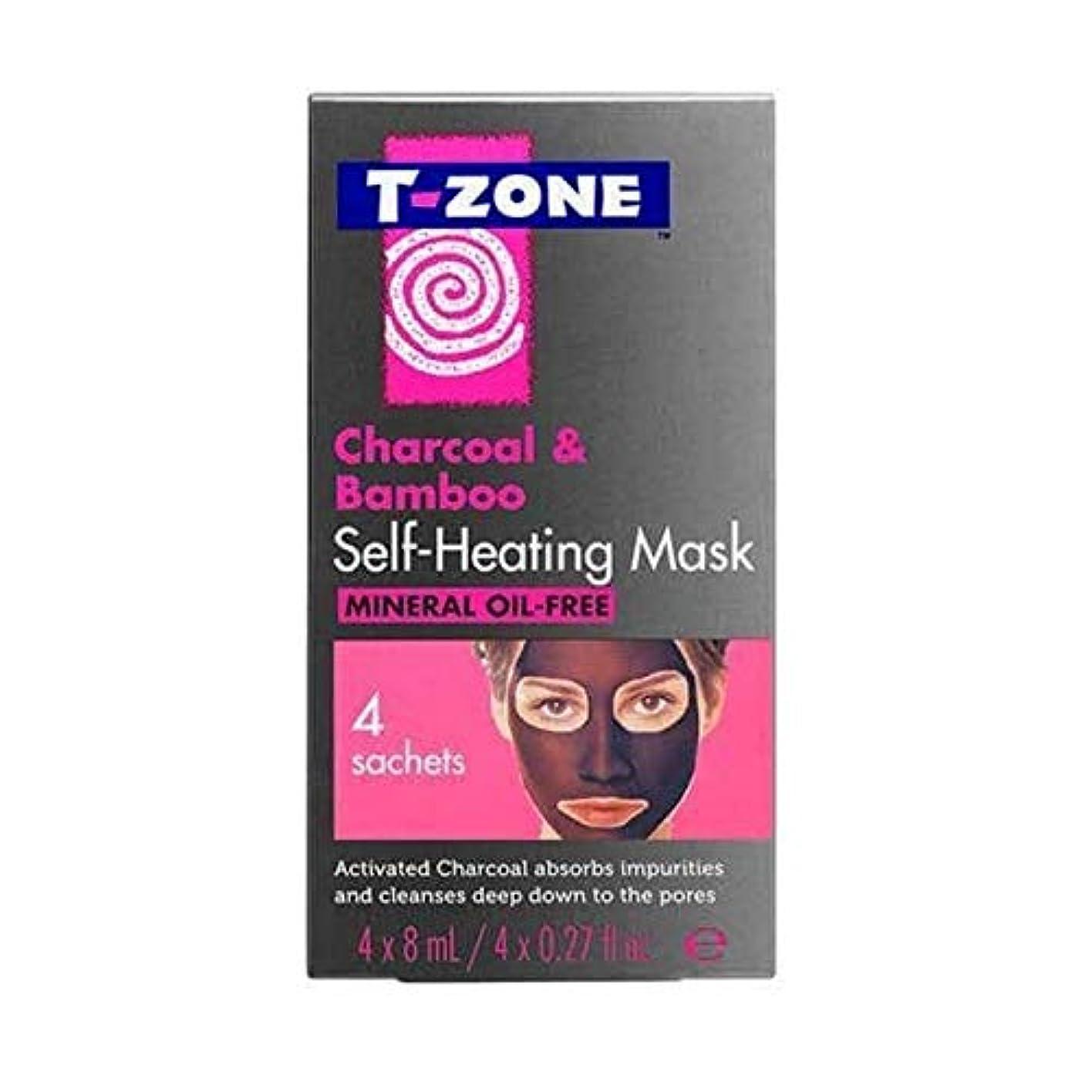 岩チャップ繁殖[T-Zone] Tゾーン木炭&竹自己発熱マスク4×8ミリリットル - T-Zone Charcoal & Bamboo Self Heating Mask 4 x 8ml [並行輸入品]