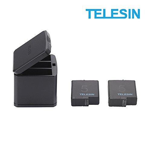 TELESIN GoPro Hero 6/Hero 5用収納ボックス式 3ポートUSB充電器+2 交換バッテリー 3個同時充電可能 USB Type-Cインターフェイス【6ヶ月保証】 (充電器+2バッテリー)