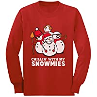 Funny Christmas Chillin with My Snowmies Snowman Youth Kids Long Sleeve T-Shirt