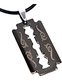 SCOO Unisex Gothic Punk Stainless Steel Razor-Blade Biker Pendant Charm Necklace in Gift Bag