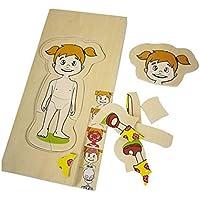 HuaQingPiJu-JP 創造的な木製の教育的なマルチレイヤーパズルアーリーラーニングの数字の形の色の動物のおもちゃ子供のための素晴らしいギフト(少女)