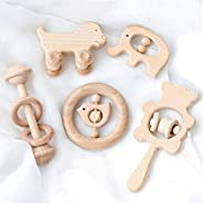 Baby Firstlook Wooden Rattle Rattle Baby Toys Set of 5 Kamami Toys Natural Wood Baby Gift Baby Shower Newborn