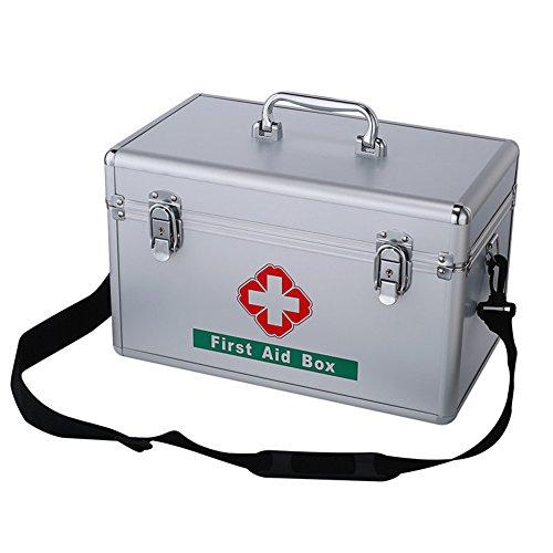 Dewel 救急箱 アルミ製  両層 薬箱 鍵付き 取っ手付き 防災 多機能収納 携帯ストラップ付き (銀色)