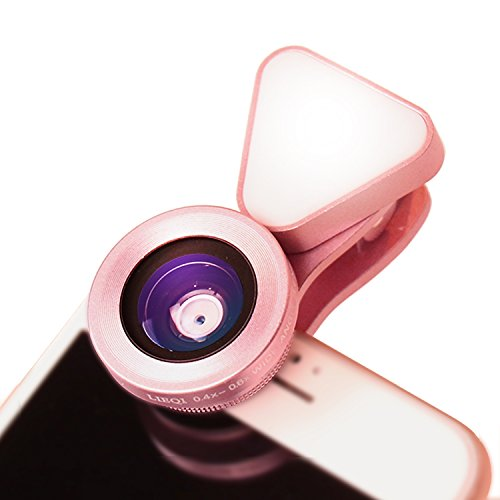 LIEQI JAPAN LQ-035 スマホレンズ スマホ用カメラレンズ 0.4x 広角レンズ iphone 15x マクロレンズ 全機種対応 自撮り棒不要 iPhone Android タブレット (ピンク)