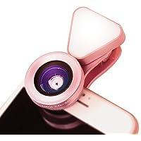 Excellence LQ-035 広角レンズ iphone スマホ用カメラレンズ スマホ 広角 レンズ マクロレンズ 全機種対応 自撮り棒不要 iPhone Android タブレット (ピンク)