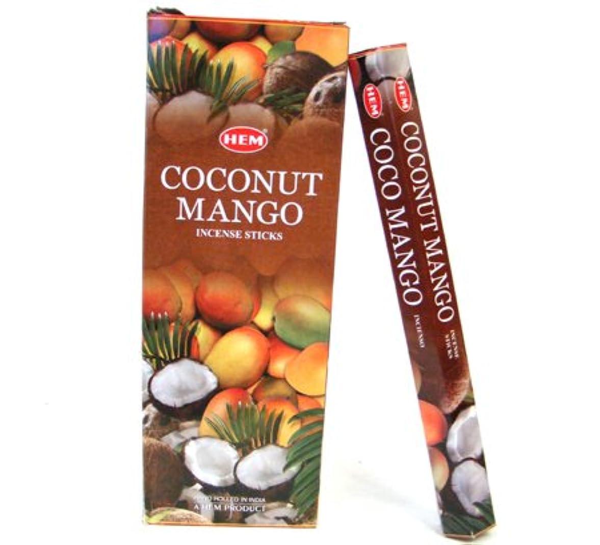 分散一方、説得力のあるHEM(ヘム)社 ココナッツ&マンゴー香 スティック COCONUT&MANGO 6箱セット