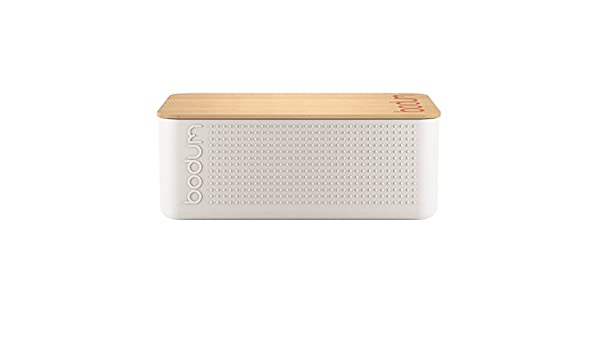 Bodum Bistro Bread Box Bin With Bamboo Wooden Chopping Board Lid Off White