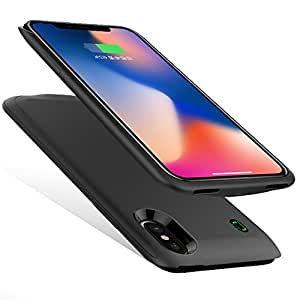 iPhone X バッテリーケース 4500mAh 大容量 急速充電 ケース型バッテリー 軽量 薄型 車載ホルダー対応 iPhoneX 背面カバー充電と音楽と通話同時に使える 携帯充電器 アイフォンケース (ブラック)