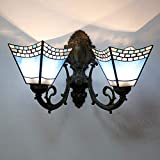 Tiffany Style Wall Sconce Light, European Pastoral 6 Inches Stained Glass Wall Lamp Double Head, Bathroom Dressing Table Mirror Headlight, E27,R