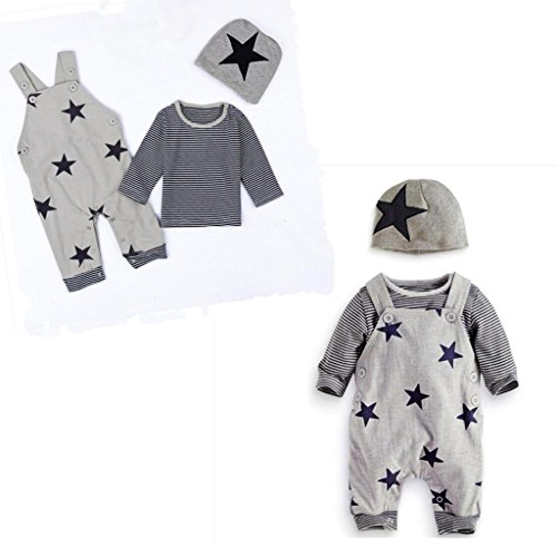 男女兼用 灰色 星 3点セット(上着+パンツ+帽子) ベビー服 女の子 赤ちゃん服 幼児 子供服 男の子 長袖 5サイズ キッズ服 ロンパース カバーオール プレゼント70CM-80CM-90CM-95CM-100CM(6ヶ月-3歳) (100CM/3歳, 灰色)
