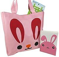 Cute Bunnyトートバッグ財布のガールズ10.75X 10.5ピンクwith Rabbitポケットノートブックジャーナル日記and 1シートof 50Puffy Rabbitステッカー( Perfect 3Pieceイースターセット)