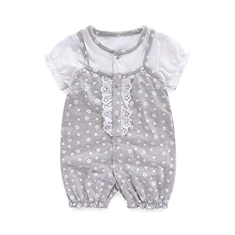 Boo.Kabee ベビー服 半袖 可愛いプリントカバーオール 女の子 薄い前開き 綿100% 赤ちゃん 誕生日 出産祝い BKB034H60