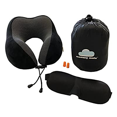 Travel Neck Support Memory Foam Pillow with Phone Pocket. Ideal for Plane, Train, Car, Home. Super Soft Cover with Bonus Free Travel Accessories - Carry Bag, 3D Sleep Mask, Noise Cancelling Earplugs by Memory Mate™