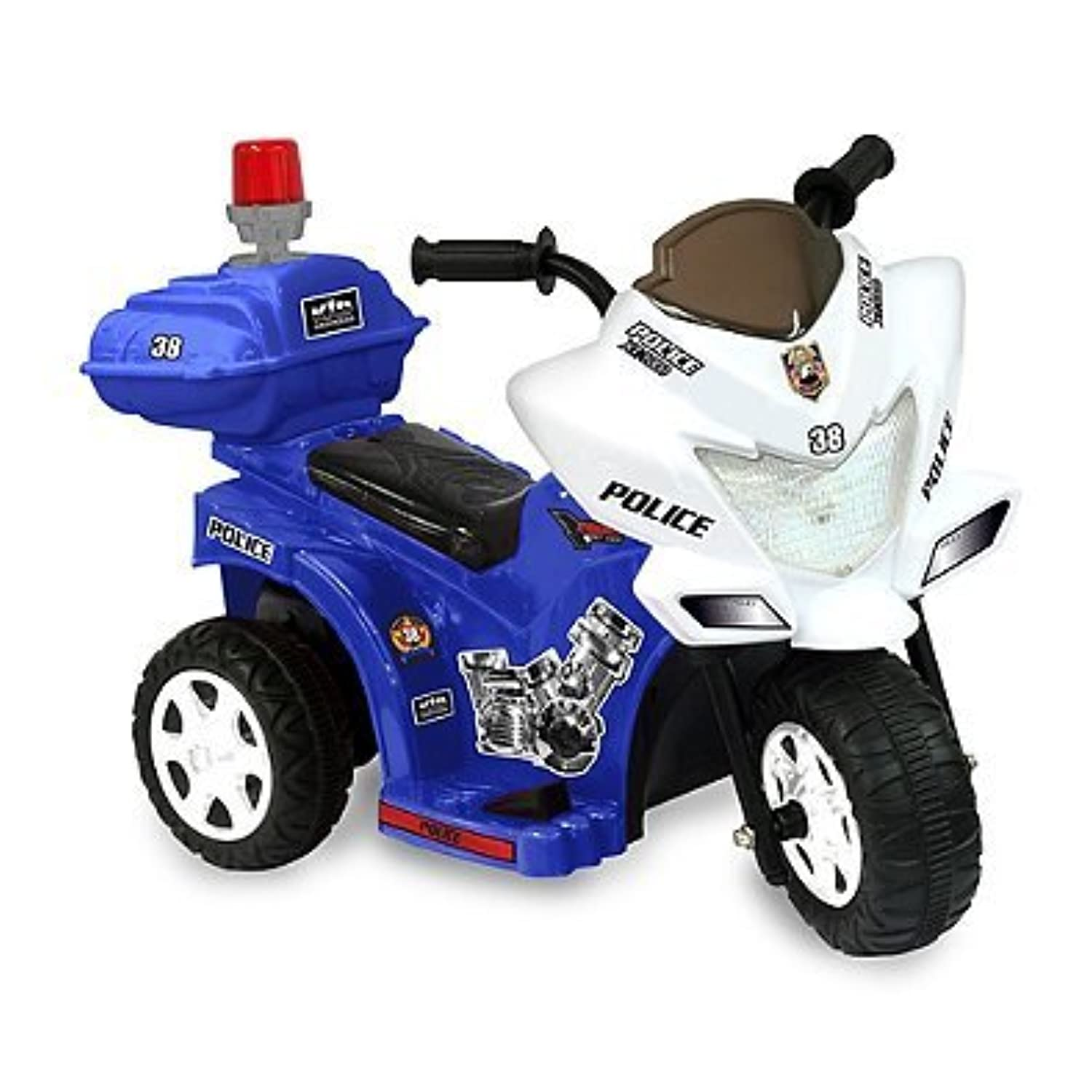 Kid Motorz Lil Patrol 6-volt Motorcycle ride-on inブルー&ホワイト