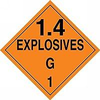 Accuform Signs MPL132VS1 Adhesive Vinyl Hazard Class 1/Division 4G DOT Placard Legend 1.4 EXPLOSIVES G 1 10-3/4 Width x 10-3/4 Length Black on Orange [並行輸入品]