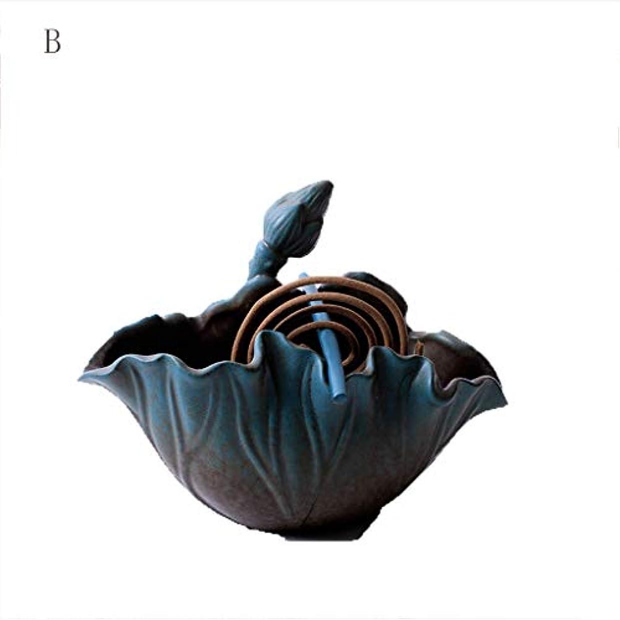 ビスケットどんよりしたイサカホームアロマバーナー クリエイティブお香バーナーロータス香インサートセラミック皿白檀炉蚊香バーナー茶道 アロマバーナー (サイズ : B)