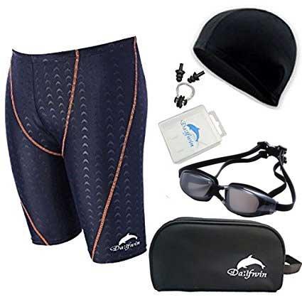 Dalfwin(ダールフィン)メンズスイミング5点セット 競泳水着 鮫肌リブレット フィットネス水着・水中ゴーグル・スイムキャップ・ノーズクリップ&耳栓・ポーチ (DFM-12Rブラック×オレンジ, XL)