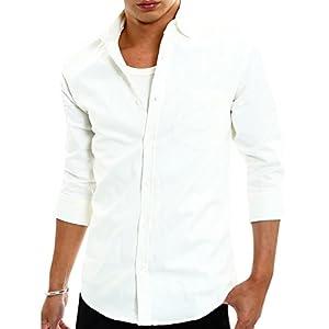 インプローブス シャツ オックスフォード スリム シャツ メンズ B 七分袖 ホワイト Lサイズ