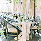 Ivory Chiffon Table Runner Romantic Wedding-Decorations - Rectangle Kitchen Table Runner for Birthday Party Dinner Baby Brida