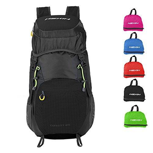 HEXIN 45l HikingバックパックCampingバックパックFoldable & Packableのアウトドア登山、旅行 45L ブラック HX70045