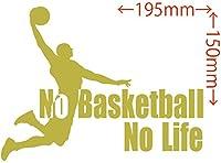 カッティングステッカー No Basketball No Life (バスケットボール)・1 約150mm×約195mm ゴールド 金