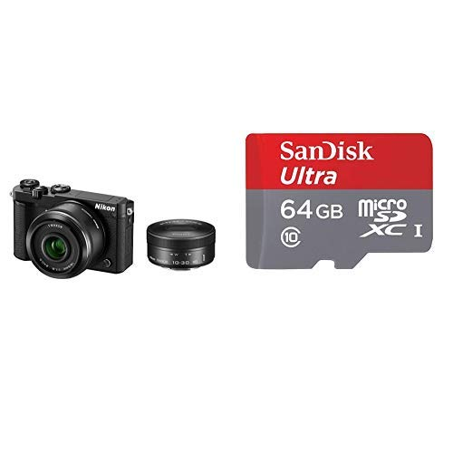 Nikon ミラーレス一眼 Nikon1 J5 ダブルレンズキット ブラック J5WLKBK + SanDisk ウルトラ microSDカード 64GB [SDSQUNA-064G-GHENA]