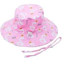 Baby Kids Summer Sun Hat Wide Brim UV Protection Beach Bucket Hat W/Chin Strap