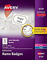 Avery Self-Adhesive Removable Name Tag Labels Gold Metallic Border 2-1/3 x 3-3/8 120 Badges (8720) [並行輸入品]