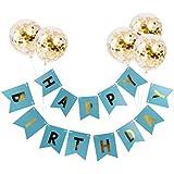 F Fityle 誕生日 ガーランド 飾り付け パーティー風船 セット バナー 飾り バルーン - 青