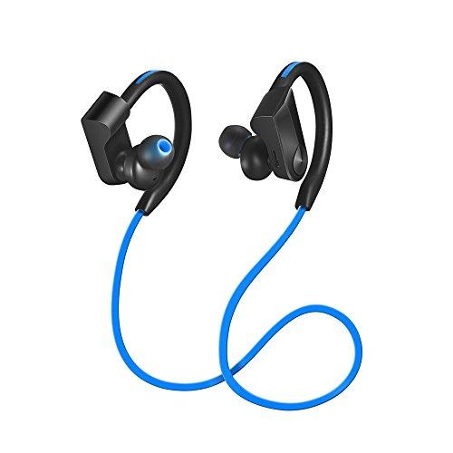 YIER Bluetooth イヤホン ブルートゥース ヘッドホン 防水 高音質 重低音 耳かけ式 bluetooth4.1 マイク付き ノイズキャンセリング ブルートゥース ヘッドセット(ブルー)