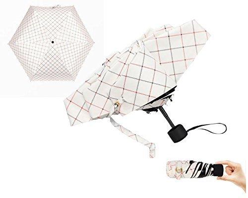 iphoneサイズに 折りたためる 日傘 チェック柄 お肌を守る(UV99%カット UPF50+) お洒落なケース付 撥水加工 突然の雨 にも大丈夫...