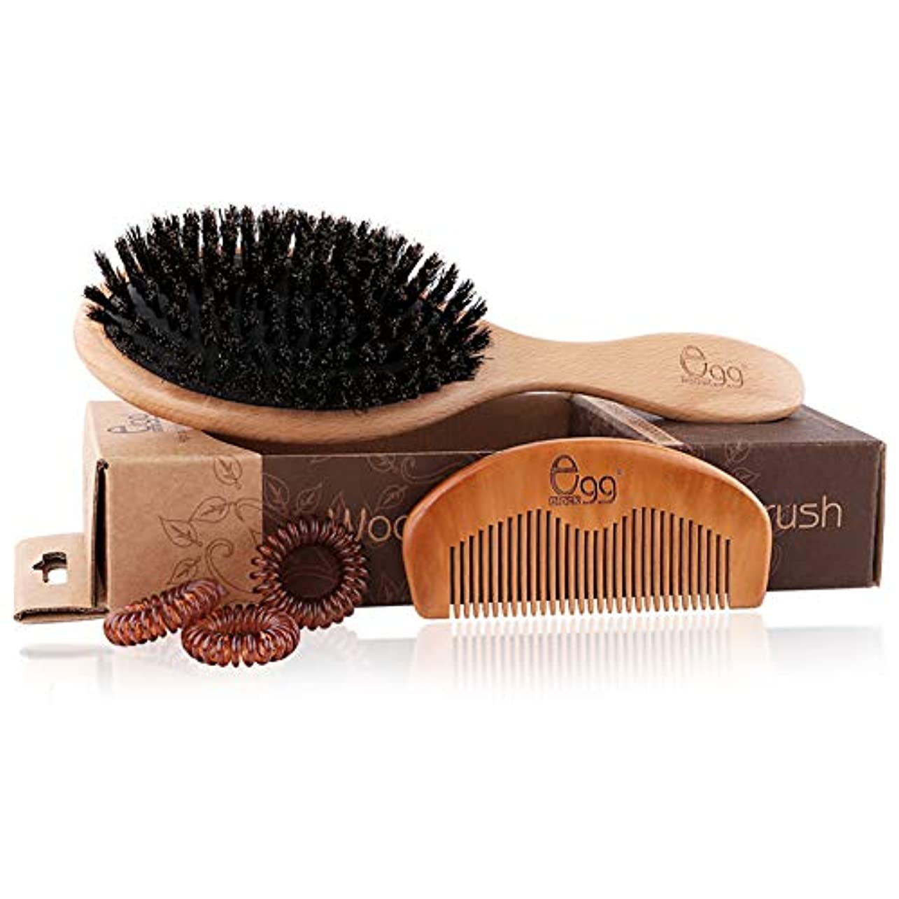 ロッドペチュランスウルルヘアブラシ セット 豚毛くし 木製櫛 美髪ケア 髪質改善 光沢感 ヘア保護 静電気防止 豚毛とナイロン混雑 くし ヘアリング