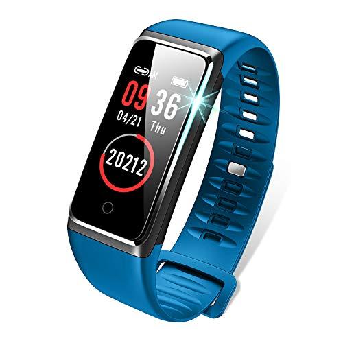 スマートウォッチ 最新 カラースクリーン 心拍計 IP67防水 USB充電 血圧計 歩数計 活動量計 スマートブレスレット Line/Facebook/Twitter/着信通知 電話通知 睡眠検測 長い待機時間 目覚まし時計 日本語アプリ (ブルー)
