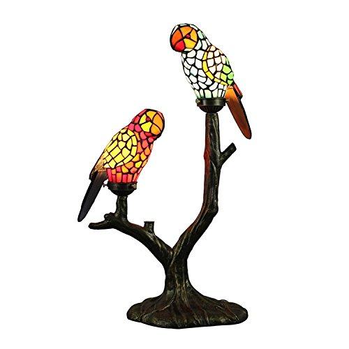 テーブルランプ ステンドグラス オウム ティファニーライト スタンド 卓上照明 照明器具 動物型 2灯